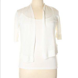 Tahari Linen Blend Open Front 3/4 Sleeve Cardigan